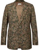 Dries Van Noten Green Floral-Print Cotton-Blend Faille Blazer