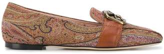 Etro square toe paisley pattern loafers