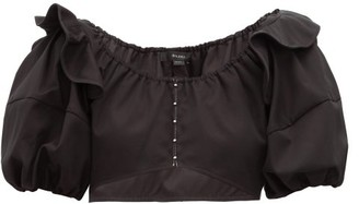 Ellery Hilaria Puff-sleeve Cropped Cotton Top - Womens - Black