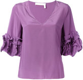 See by Chloe frilled sleeve top - women - Silk/Viscose - 36