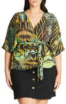 City Chic Plus Size Women's Jungle Print Wrap Top