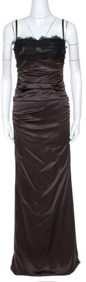 Dolce & Gabbana Brown Satin Lace Trim Ruched Maxi Dress M