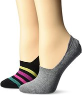 Keds Women's 2 Pack Lurex Print Sneaker Liner Socks