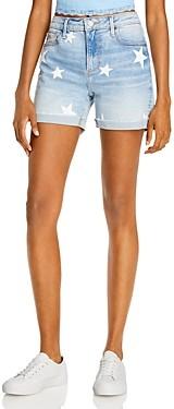 Aqua Star Print Denim Shorts in Light Wash - 100% Exclusive