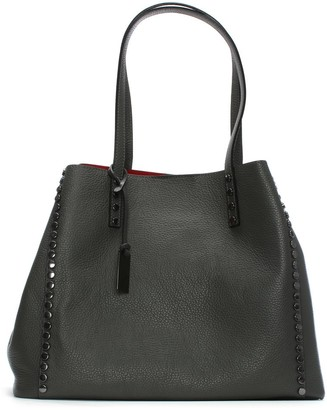 Daniel Mooch Grey Tumbled Leather Studded Tote Bag