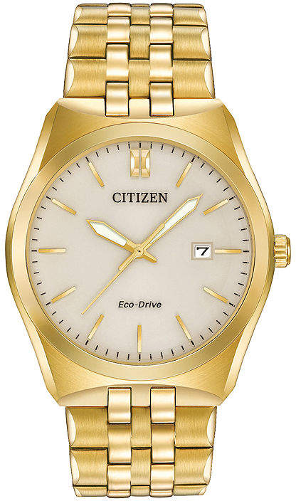 Citizen Eco-Drive Corso Mens Gold-Tone Stainless Steel Watch BM7332-53P