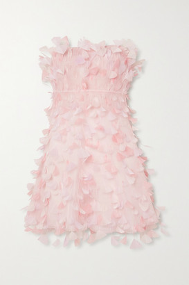 Dolce & Gabbana Strapless Feather-embellished Silk-tulle Mini Dress - Pink