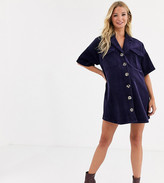 Asos DESIGN Maternity oversized boxy cord shirt dress in blue