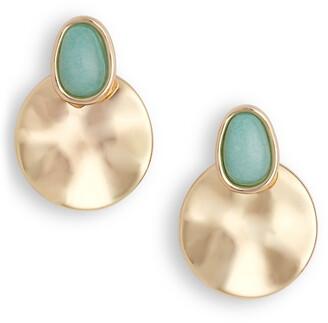Halogen Stone Stud & Hammered Disc Earrings
