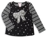 Design History Girl's Sequined Bow Striped Top
