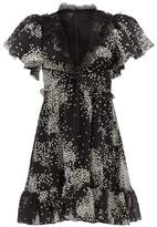 Giambattista Valli Square-print Lace-trimmed Silk-georgette Dress - Womens - Black White