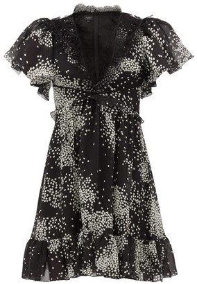 Giambattista Valli Square-print Lace-trimmed Silk-georgette Dress - Womens - Black White