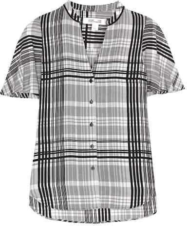 Diane von Furstenberg Darnley plaid silk blouse