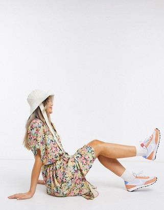 Monki Ninni floral print belted shirt dress in multi