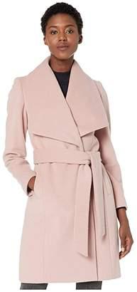 Cole Haan Slick Wool Wrap Coat w/ Exaggerated Collar (Dusty Rose) Women's Coat