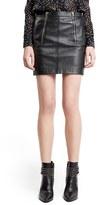 Saint Laurent Zip Detail Lambskin Leather Miniskirt