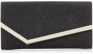 Jimmy Choo EMMIE Black Fine Glitter Leather Clutch Bag