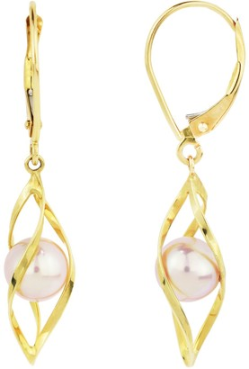 14k Gold Pink Freshwater Cultured Pearl Cage Earrings