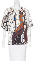 Roberto Cavalli Silk Lace-Up Top