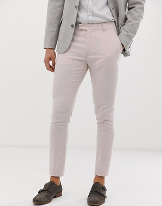 Pink Twill Asos Design ASOS DESIGN super skinny smart trousers in light