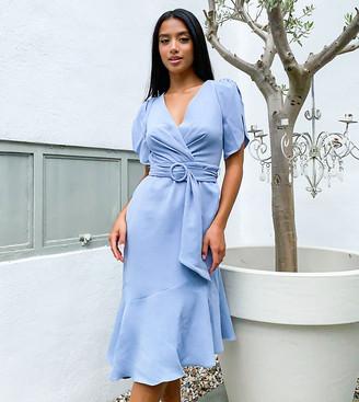 Ever New Petite puff sleeve asymmetric hem dress in blue