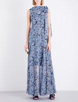 Erdem Tie-shoulder Paisley Vine-printed silk gown