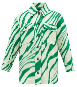 Isabel Marant Harvey Tiger-print Brushed-wool Overshirt - Womens - Green Multi