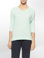 Calvin Klein Performance V-Neck High Low 3/4 Sleeve Top