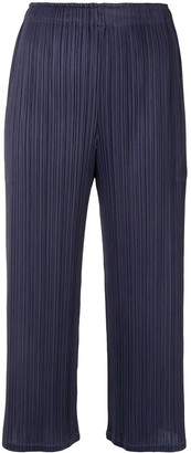 Pleats Please Issey Miyake Cropped Straight-Leg Trousers