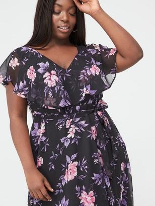 V By Very Curve Cape Sleeve Midi Dress - Purple Floral