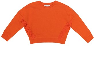 Stella McCartney Kids Frills cropped cotton sweatshirt