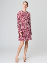 Oscar de la Renta Graphic Leaves Silk Crepe de Chine Skirt