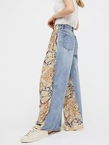 We The Free Coming And Going Printed Wide Leg Jeans by at Free People