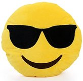 Want Funny Emoji Pillow Cushions Lovely Round Facial Expression Pillow Toys Yellow Plush Toys Kids Gift Sofa Decoration Pillows (Cool)