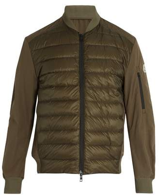 Moncler Ariege Contrast Panel Quilted Down Jacket - Mens - Green