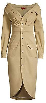 STAUD Women's Jack Trench Off-Shoulder Dress - Size 0