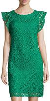 Chetta B Flutter-Sleeve Floral-Lace Dress, Medium Green