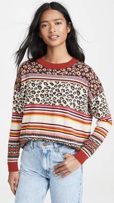 Autumn Cashmere Leopard Fairisle Crew Sweater