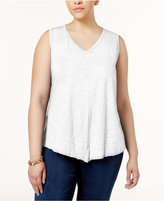 INC International Concepts Plus Size Asymmetrical-Hem Tank, Created for Macy's
