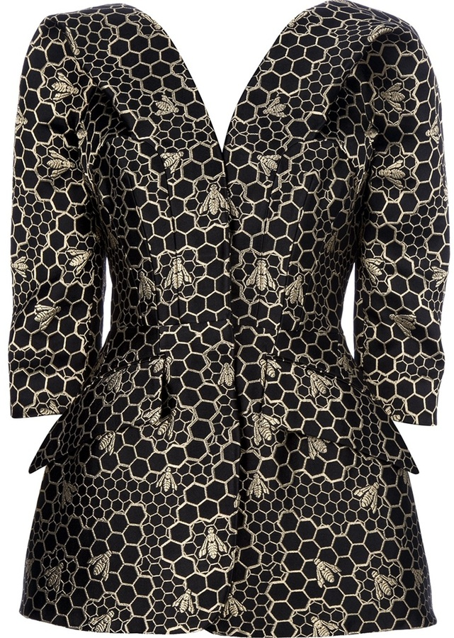 Alexander McQueen bee and honeycomb patterned jacket