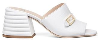 Fendi White leather Promenade slides