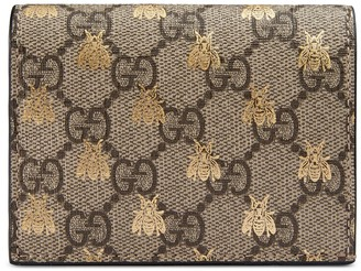 Gucci GG Supreme bees card case wallet