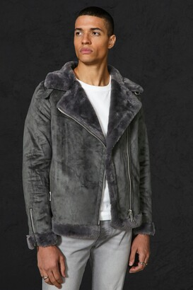 boohoo Mens Grey Faux Fur Lines Suede Aviator, Grey