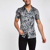 Mens Green satin feather print button-down shirt