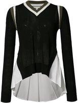 Veronica Beard ruffled side mesh top - women - Cotton/Polyester/Spandex/Elastane/Viscose - M