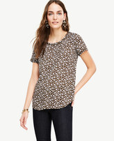 Ann Taylor Petite Floral Piped Tee