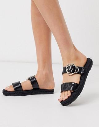 Asos DESIGN Judgement espadrille mules in black croc