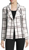 Derek Lam 10 Crosby Plaid Double-Breasted Jacket, Cream/Multicolor