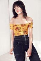Ecote Shirred Cropped Bardot Top