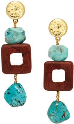 Nest 22K Goldplated, Turquoise & Redwood Drop Earrings